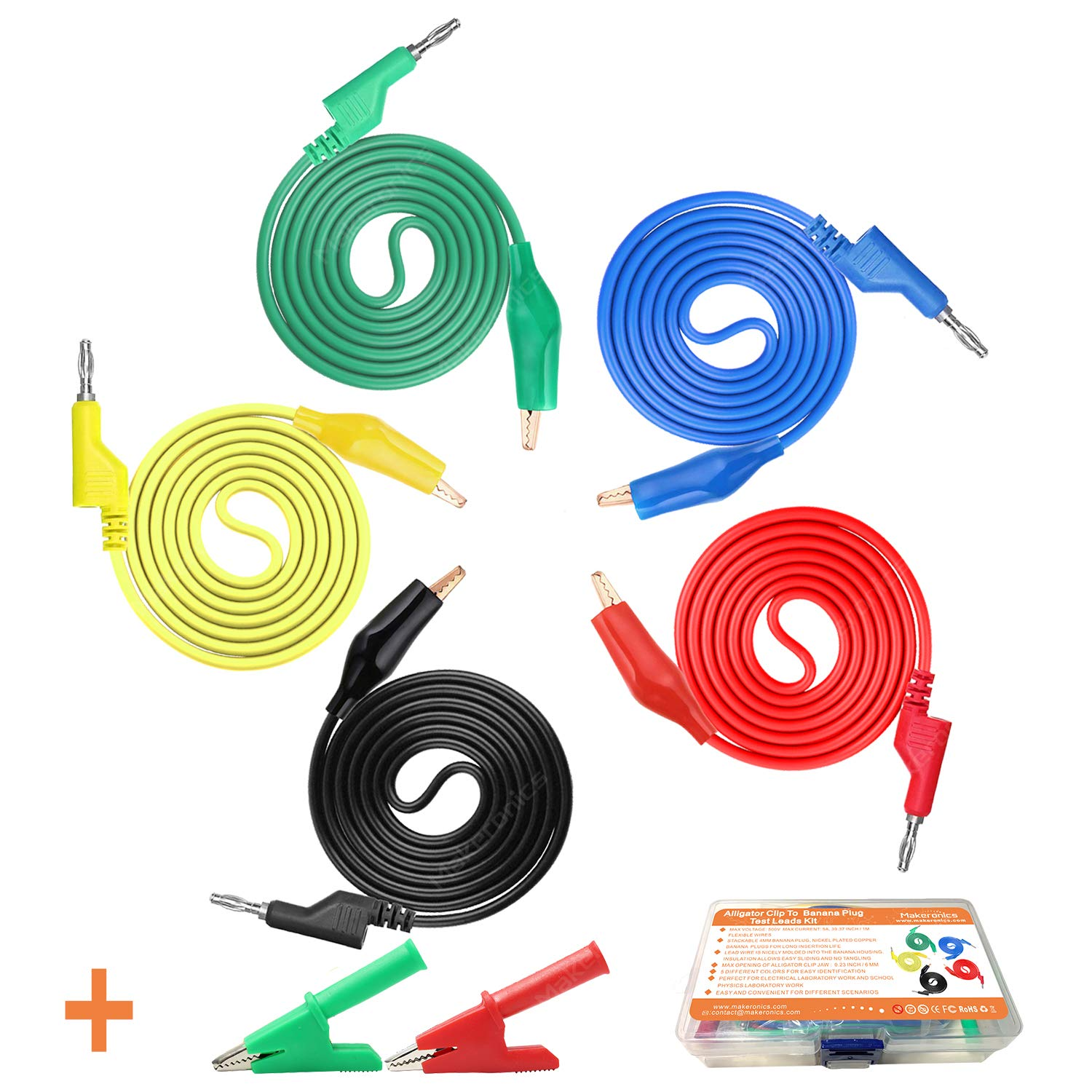 39.37inch // 1m length Flexible Electrical Test Wires 1000V//15A 4mm Stackable Banana Plug 5 Colors Makeronics 5pcs Banana to Banana Plug Test Lead Set for Multimeter Black//Red//Green//Blue//Yellow