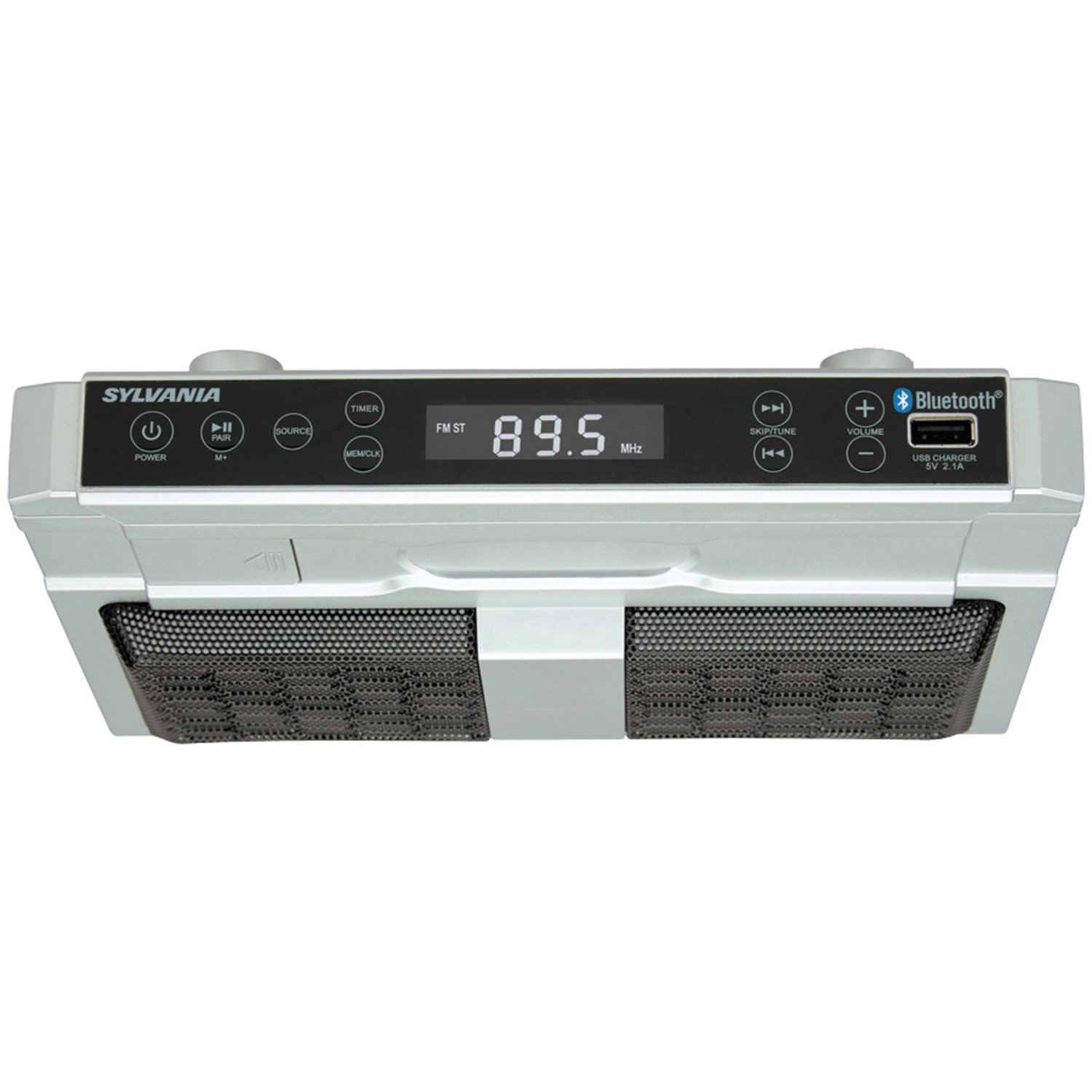 Sylvania SKCR2810BT Under Cabinet Clock Radio, Music System with Bluetooth Streaming and FM Radio by Sylvania