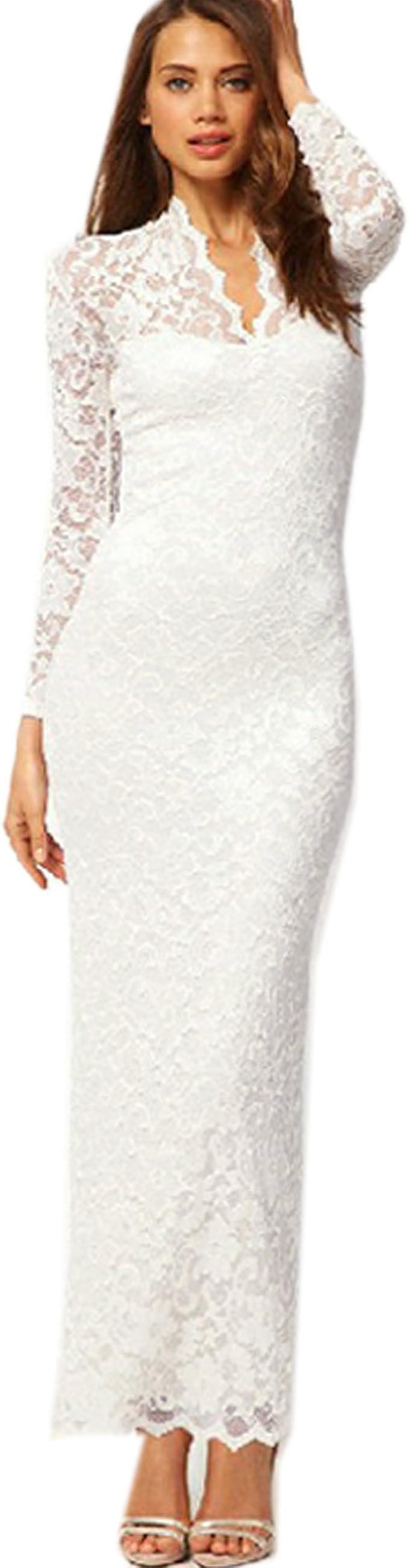 Damen Figur betontes langes Studio Abendkleid mit Spitze Kleid