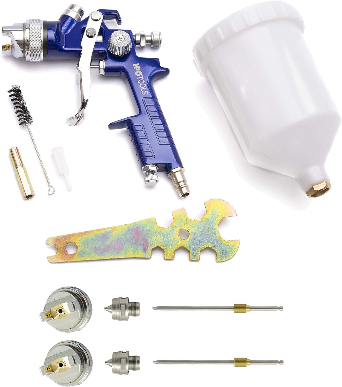 Pistola Pintura HVLP H-827P - sistema profesional de pintura con vaso de plástico de 600 ml y boquilla de acero inoxidable 1,3mm + 2x juego de boquillas de 1,7mm y 2,0mm