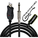 USB Guitar Cable Guitar Bass to PC USB Recording Cable Adapter Converter Connection Interface, USB to 6.5mm Jack Computer Recording Cable