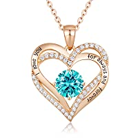 Forever Love Heart Women Necklace 925 Sterling Silver Rose Gold Plated November Birthstone Pendant Necklaces for Women with 5A Cubic Zirconia Christmas Jewelry Gift Birthday Gift for Mom Women Wife Girls Her