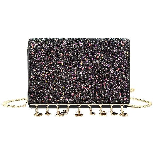 9b0464cfddc8 Amazon.com: Candice Women Shiny Sequins PU Leather Crossbody Bag ...