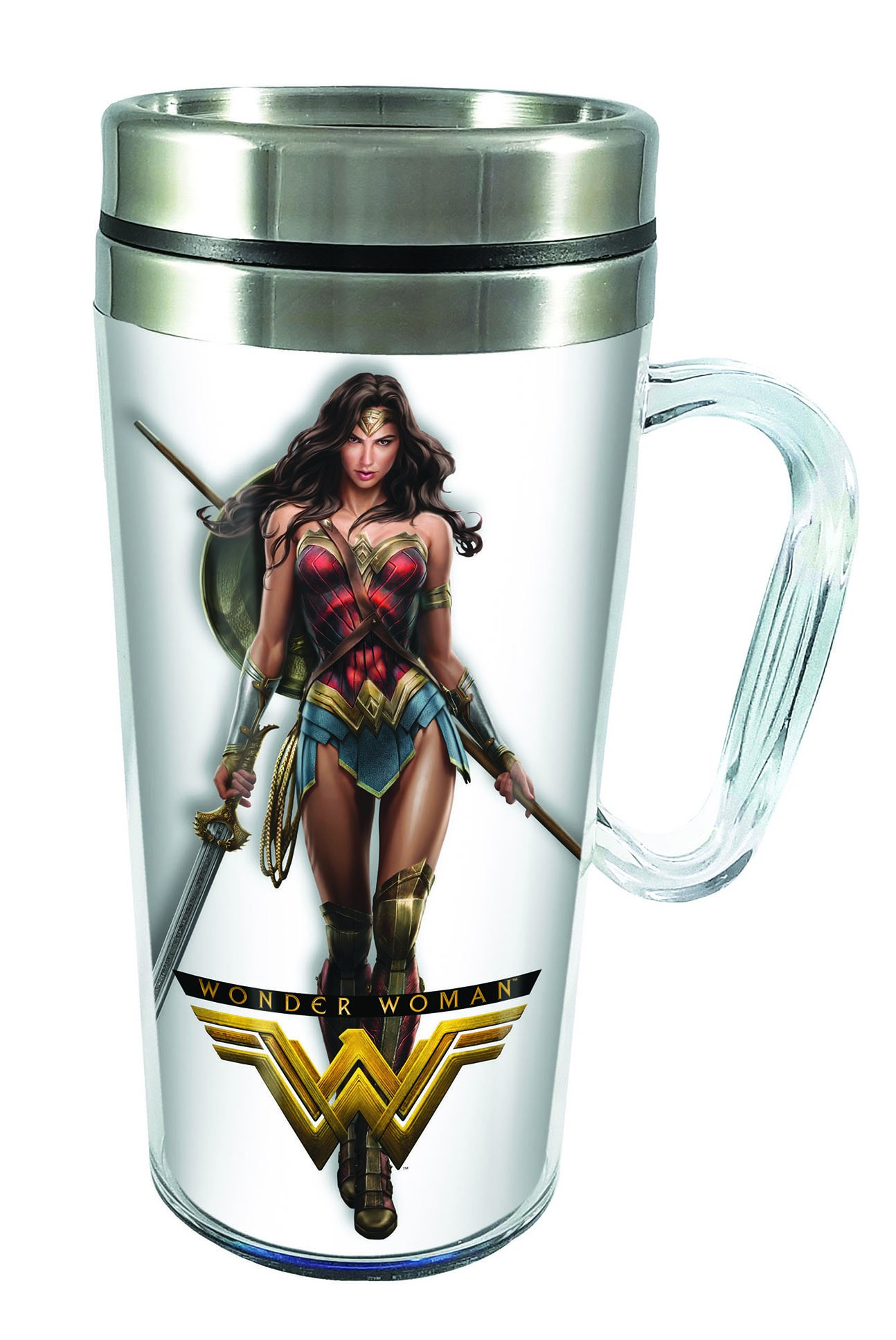 Spoontiques 17191 Wonder Woman Movie Insulated Travel Mug, White