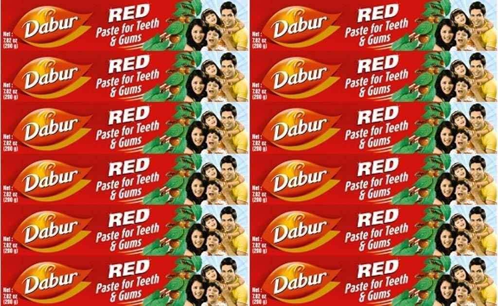 Dabur–Dentifricio Rosso alle erbe–Set di 12tubetti di 100g