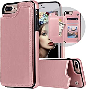 iPhone 7 Plus Wallet Case,iPhone 8 Plus Case with Card Holder,Auker Slim Thin Folio Flip Leather Secure Fit Magnetic Clasp Closure Purse Case with Wallet&Credit Card Slots for iPhone 7 Plus Rosegold