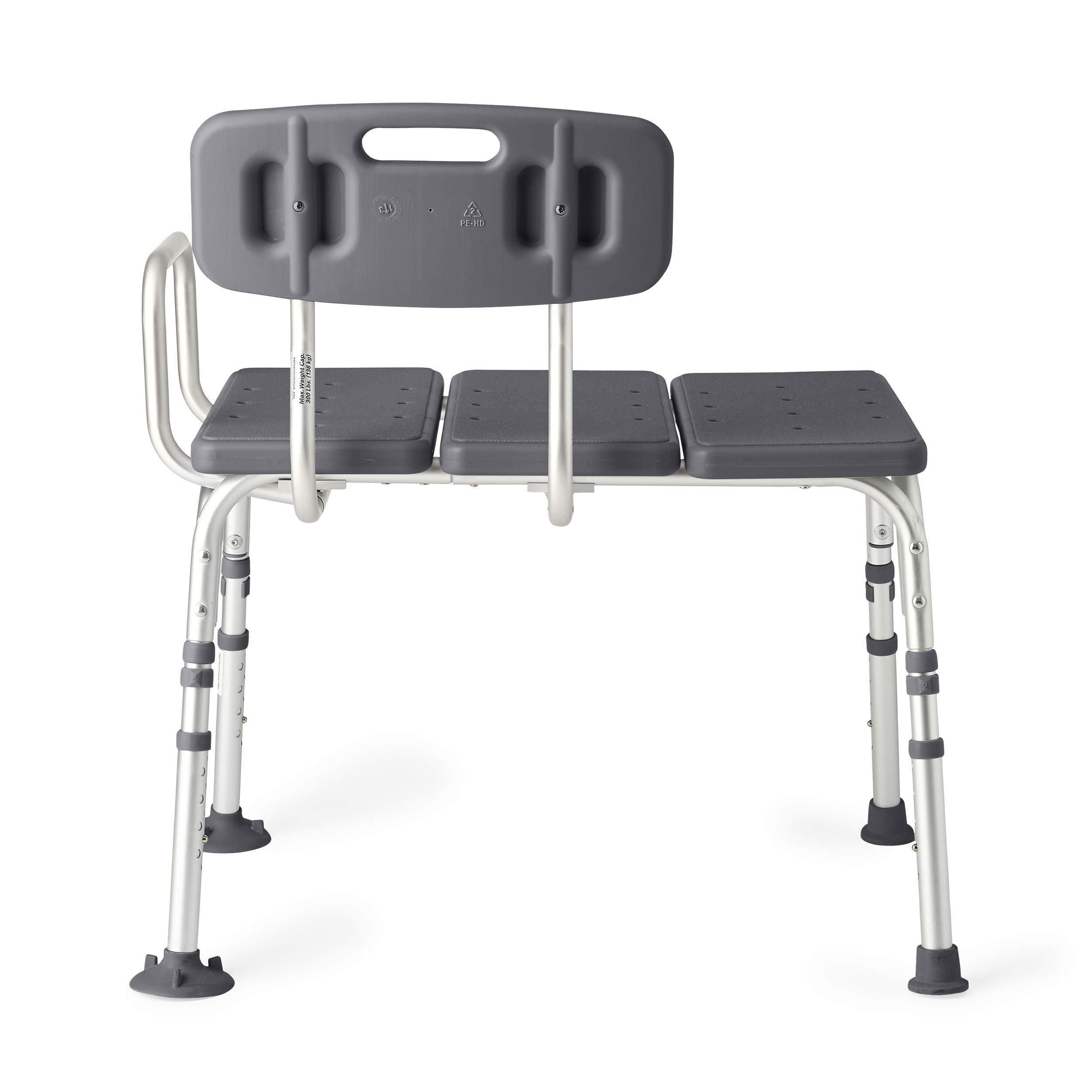 Medline Knockdown Transfer Bath Bench with Back, Microban Antimicrobial Protection, 350lb Weight Capacity, Grey by Medline (Image #3)