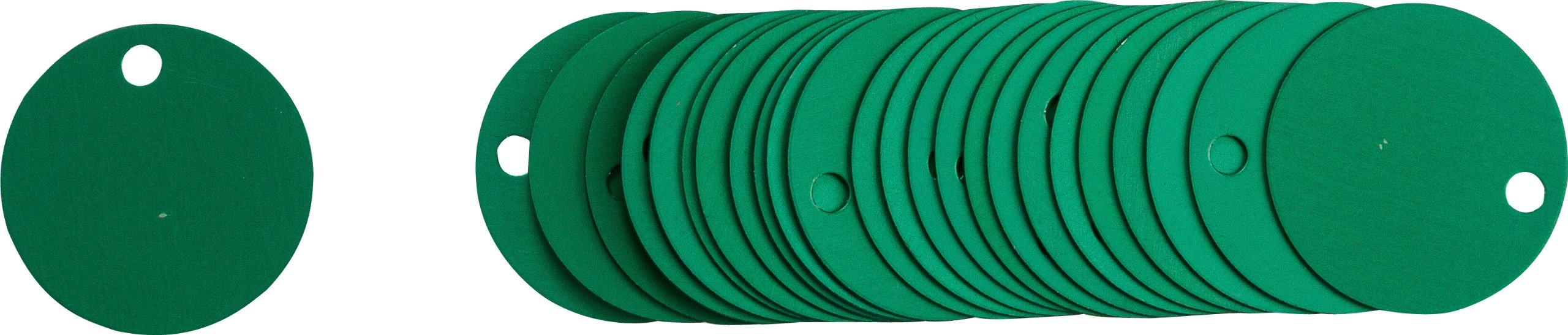 Brady  49908 , 2 inches , Green Stock Blank Aluminum Valve Tags (25 Tags)