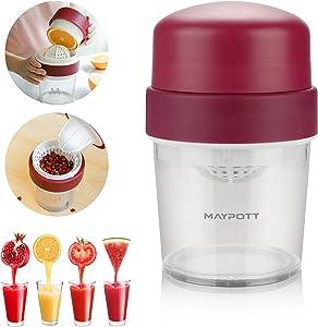 Maypott Manual Juicer Press Citrus Hand Juice Orange Lemon Squeezer With Egg Yolk And Egg White Separator (Red)