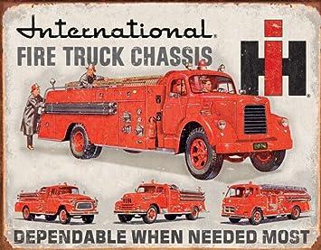 IH Fire Truck Chassis Blechschild Flach Neu aus USA 31x40cm S2256