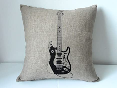 fringcoook Funda de cojín cuadrada decorativa de lino y algodón para guitarra eléctrica, 45,