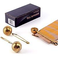 MUPCOOK - Juego de 2 infusores de té y 1 cuchara de té – bola de filtro de acero inoxidable dorado con cuchara multiusos…