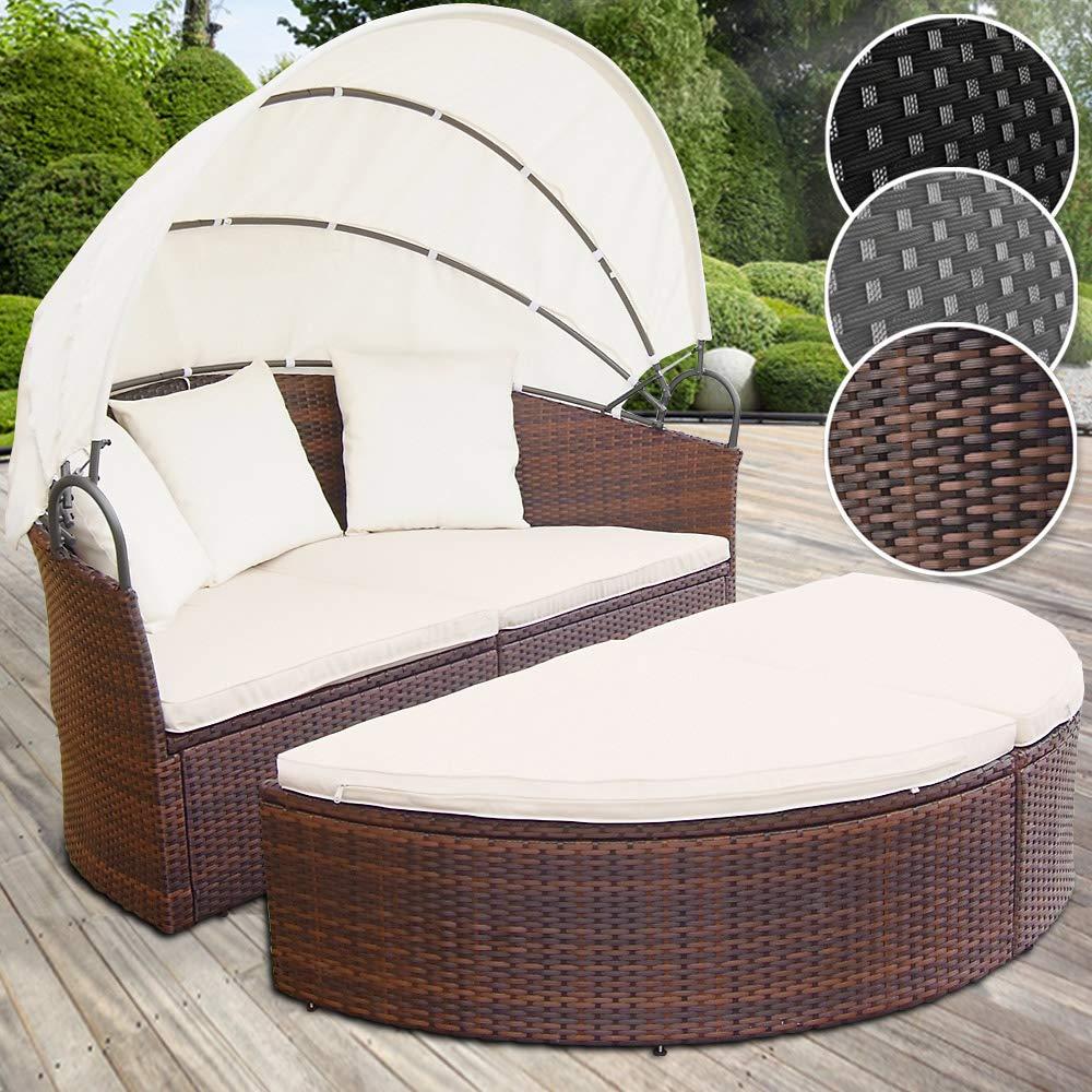 Miadomodo - Conjunto de sillones para jardín - anchura total, Diametro aprox. 180 cm - de polirratán marrón