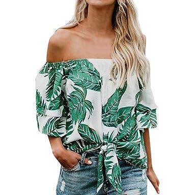f2d553d7f7198 DOGZI Blusa Hombros Descubiertos Mujer Blusas para Mujer Verano Camisa de Manga  Corta con Estampado de