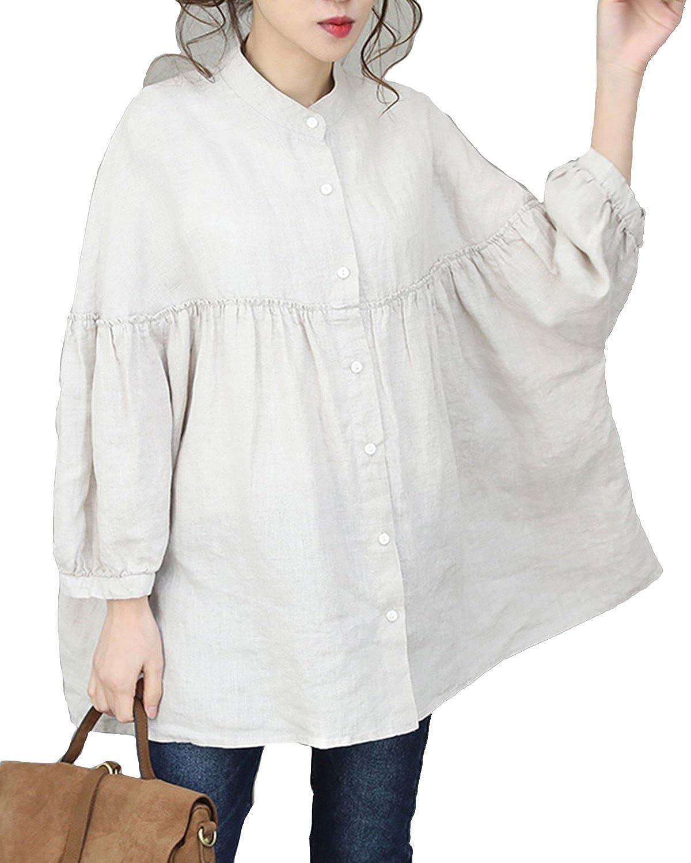 Aeneontrue Women s Vintage Linen Loose Casual Shirts Oversize Fall Tops  Blouses (Linen Beige) at Amazon Women s Clothing store  a9c6a9e190