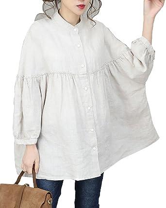 ed98f4036 Aeneontrue Women's Vintage Linen Loose Casual Shirts Oversize Fall Tops  Blouses (Linen/Beige)
