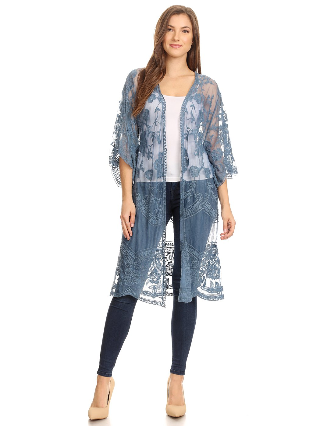 Anna-Kaci Womens Long Embroidered Lace Kimono Cardigan with Half Sleeves, Blue, OneSize