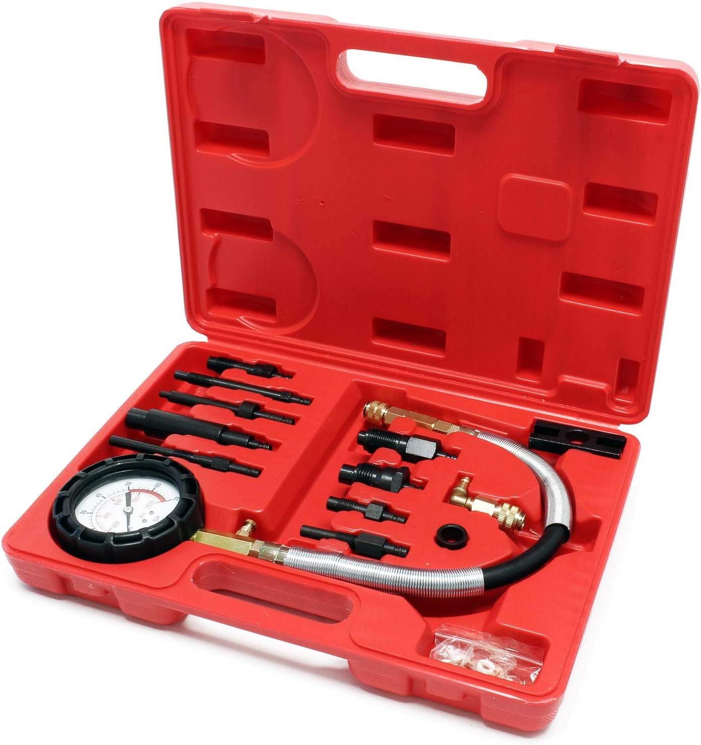 Engine Oil Pressure Tester Pressure Gauge Test Tool Kit Diesel 0-100psi 12pcs