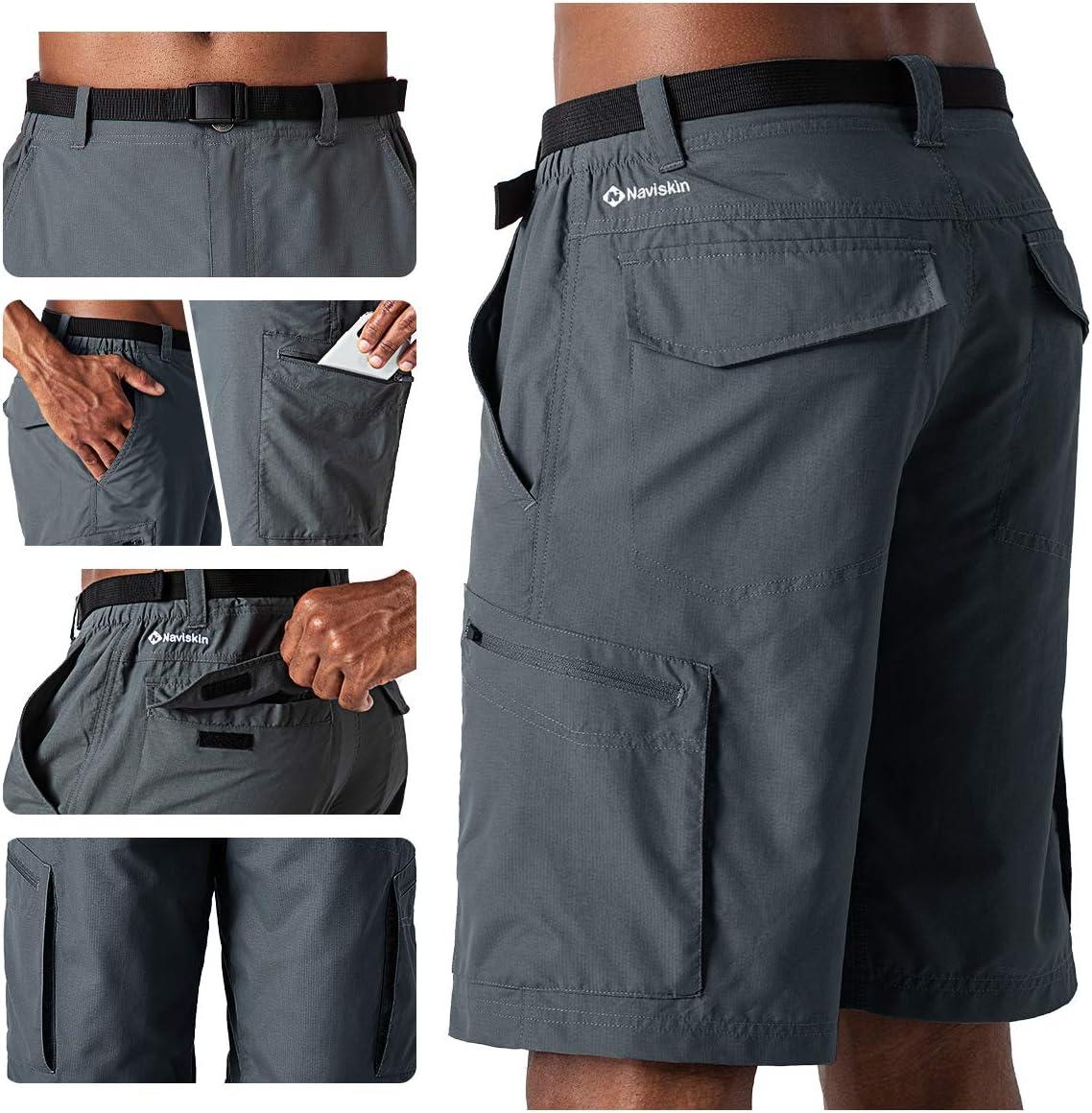 Nailon Ligero Secado R/ápido Pantal/ón de T/érmica Acampada Campismo Marcha NAVISKIN Pantalones Cortos de Senderismo UPF 50 para Hombre