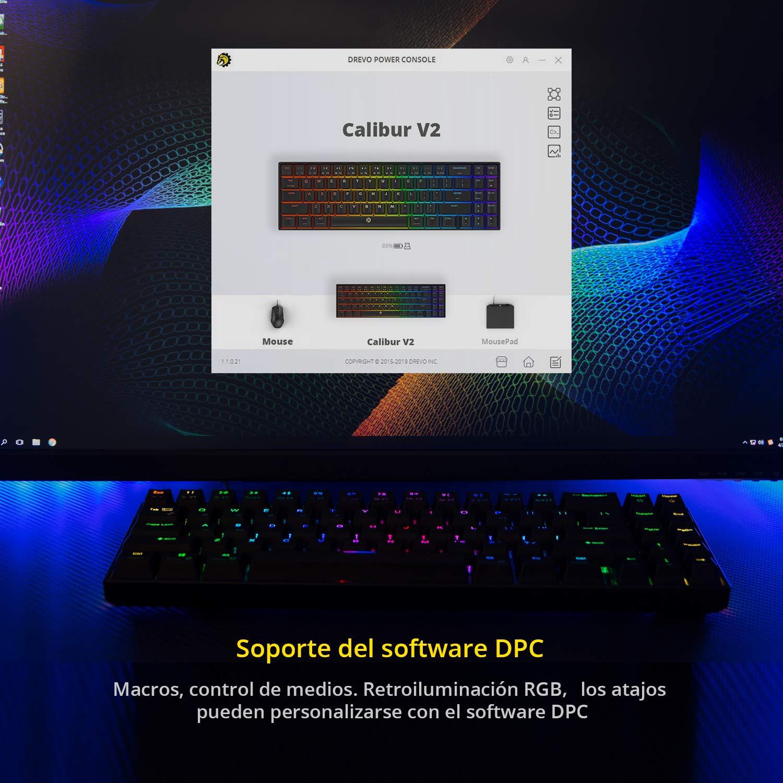Negro Compacto de 72 Teclas DREVO Calibur V2 Cherry MX Rojo RGB 60/% Teclado Mec/ánico para Juegos Compatible con PC//Mac Distribuci/ón QWERTY Espa/ño USB C
