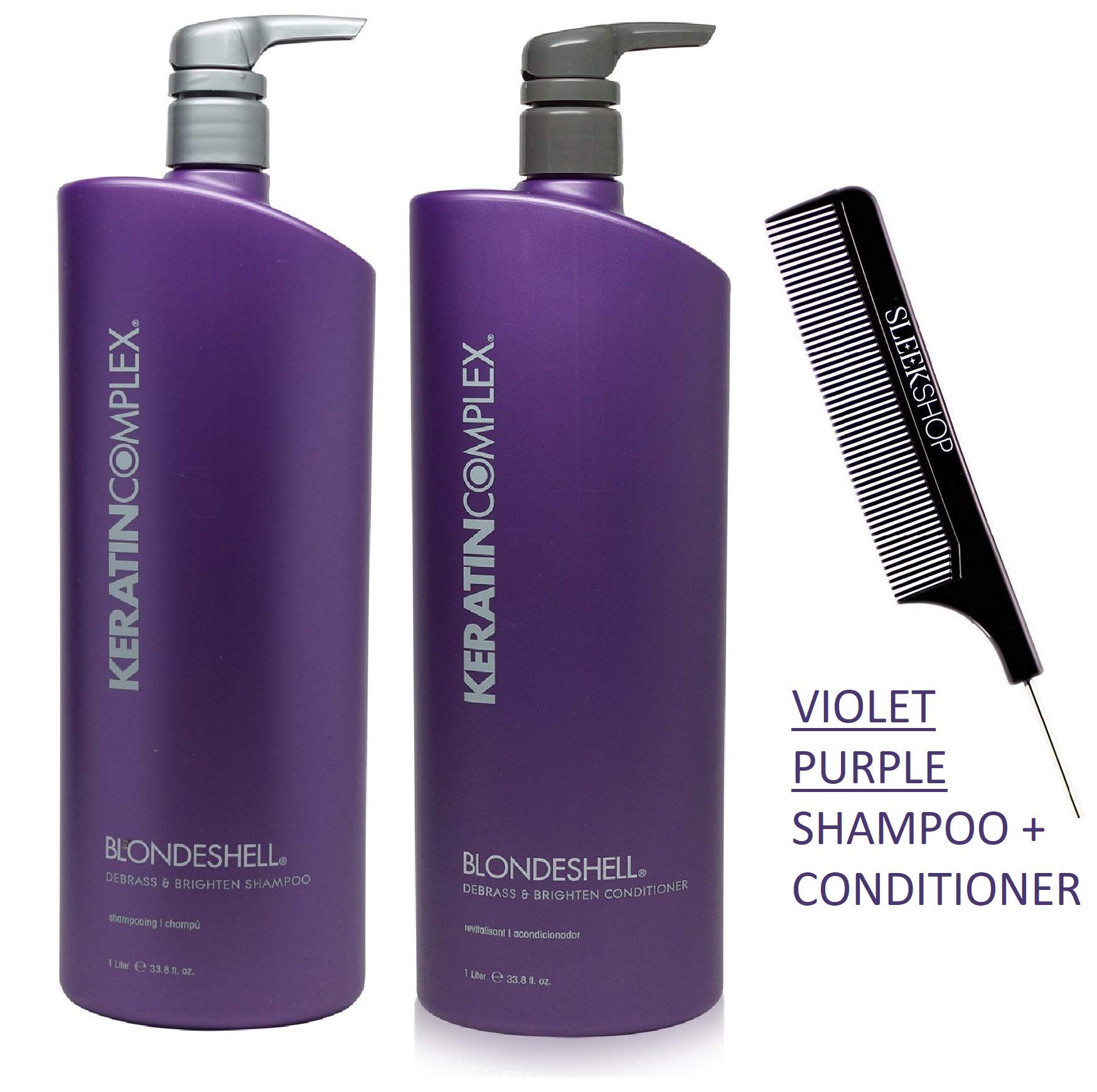 Keratin Complex BLONDESHELL DEBRASS & BRIGHTEN Shampoo & Conditioner DUO SET (Stylist Kit) Violet Purple Shampoo for Yellow, Blonde, Silver, Brassy Hair (LARGE DUO - 33.8 oz / 1000 ml) by Keratin Complex