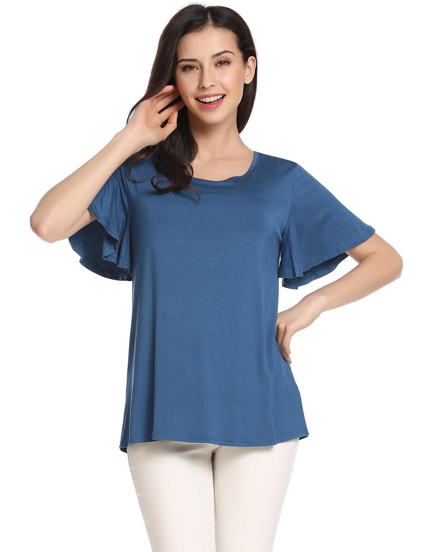 aa12aa2c88b Etuoji Womens O-Neck Solid Summer Tops T-Shirt Short Sleeve Sweet Flounce loose  Shirt Dark Blu Grey Black Size 8-22 at Amazon Women s Clothing store