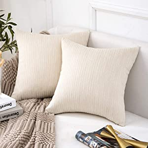 Jepeak Comfy Cotton Ticking Striped Throw Pillow Covers Cases, Pack of 2 Soft Decorative Square Cushion Covers for Sofa Couch (20 x 20 Inches, Cream Cheese)