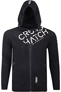 Mens Hoodie Crosshatch Haiden-Zip Cotton Zip Up Hooded Sweater