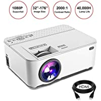 Mini Projector Portable Video LED Projector HD Multimedia Home Theater Supports 1080P, HDMI, USB, SD Card, VGA/AV/TV, Laptops, Games, Smartphone