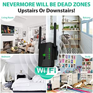 [Upgraded 2020] WiFi Extender 300 Mbps with WPS Internet Signal Booster - Wireless Repeater up to 300 Mbps - Range Network Compatible with Alexa, Extends WiFi Coverage to Smart Home Devices