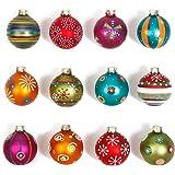 Inge Glas 66059-K - Palline di Natale, motivo Mille Fiori, 8 cm, 12 palline decorate, rosso / turchese / verde / arancione / rosa