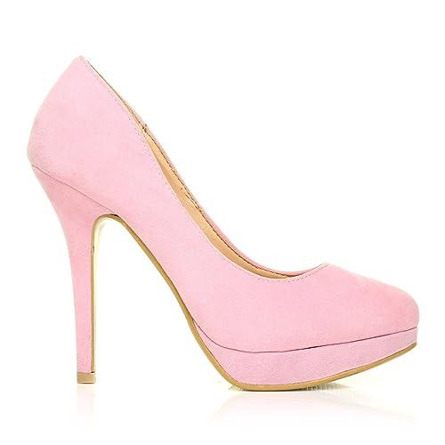 9e2a8cd9c87d EVE Baby Pink Faux Suede Stiletto High Heel Platform Court Shoes Size UK 8  EU 41