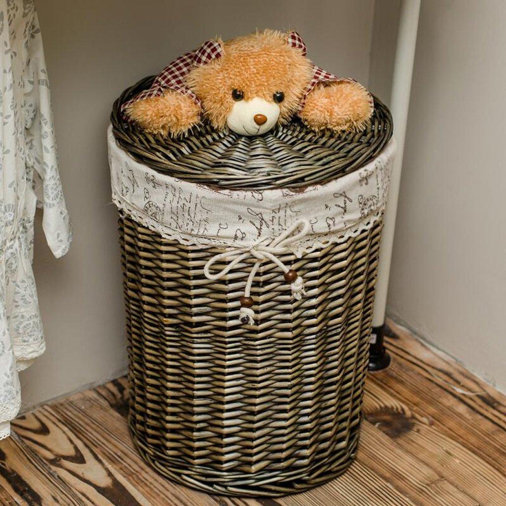 CHENGYI Dunkelgrau Dirty Clothes Aufbewahrungskorb Rattan Dirty Clothes Basket Wäschekorb CoveROT Toy Debris Körbe Dirty Basket Weide (größe : Mouth Diameter 43cm high 53cm)