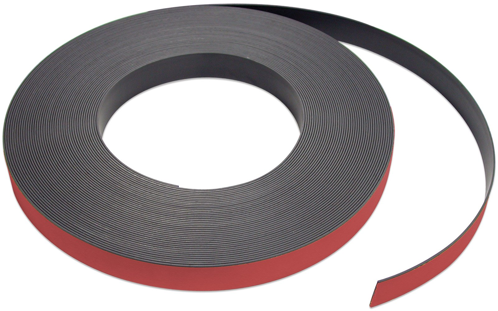 Flexible Magnet Strip with Red Vinyl Coating, 1/32'' Thick, 2'' Height, 50 Feet, 1 Roll