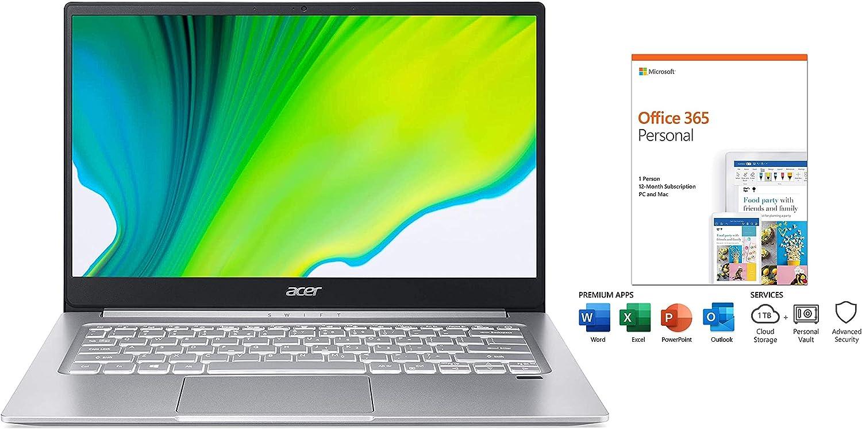 "2020 Acer Swift 3 14"" FHD IPS Ultra Light Laptop, AMD Ryzen 7 4700 Upto 4.1GHz, Radeon Graphics, WiFi 6, Backlit Keyboard, Fingerprint Reader, Windows 10 (8GB RAM | 1TB PCIe SSD | Office 365)"