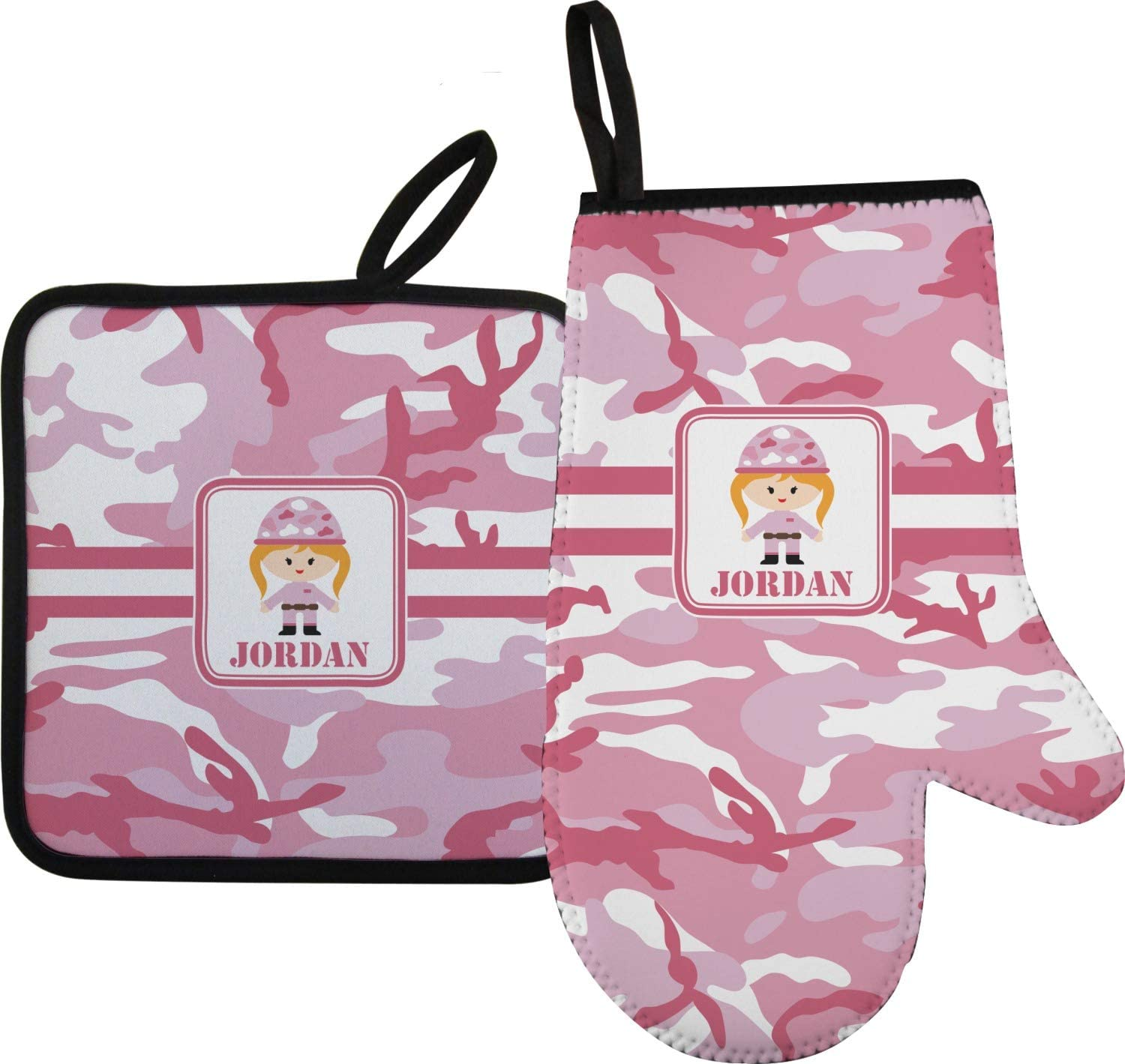 YouCustomizeIt Pink Camo Oven Mitt & Pot Holder (Personalized)
