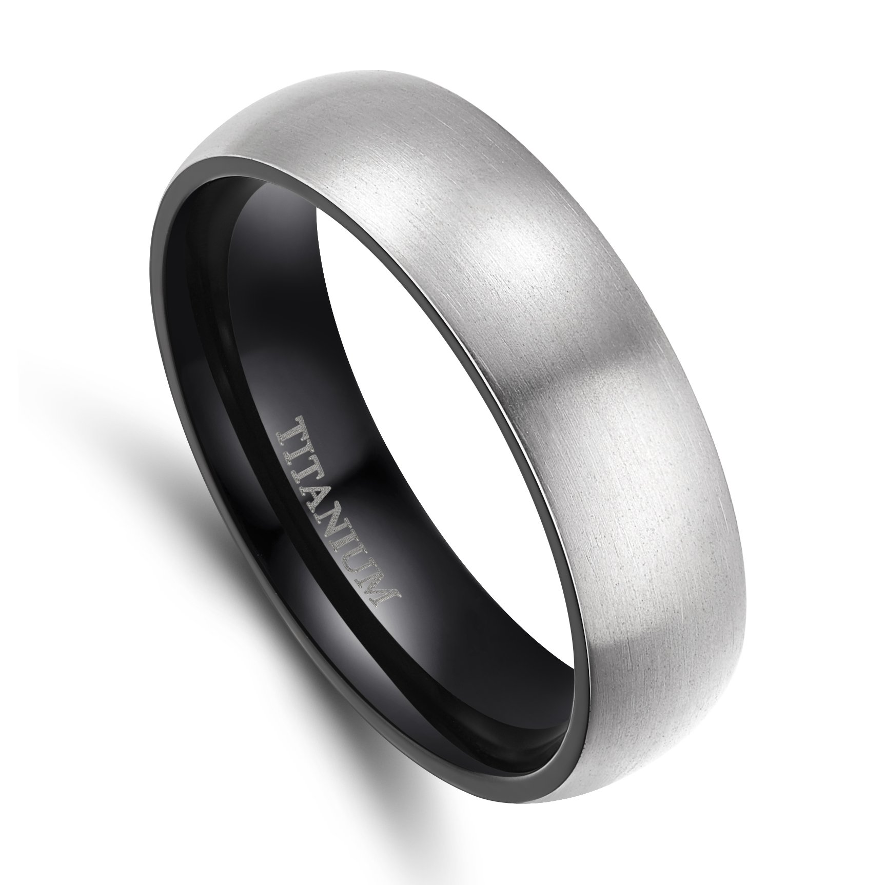 TIGRADE 6mm/8mm Men's Titanium Ring Brushed Dome Wedding Band Comfort Fit Size 4-15