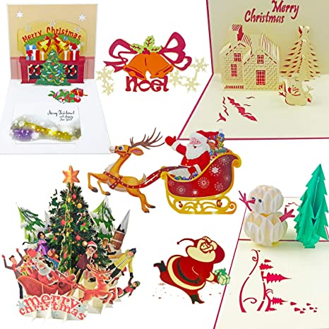 Amazon.com: 7 pack 3d Pop Up Cards – Tarjetas de Navidad ...