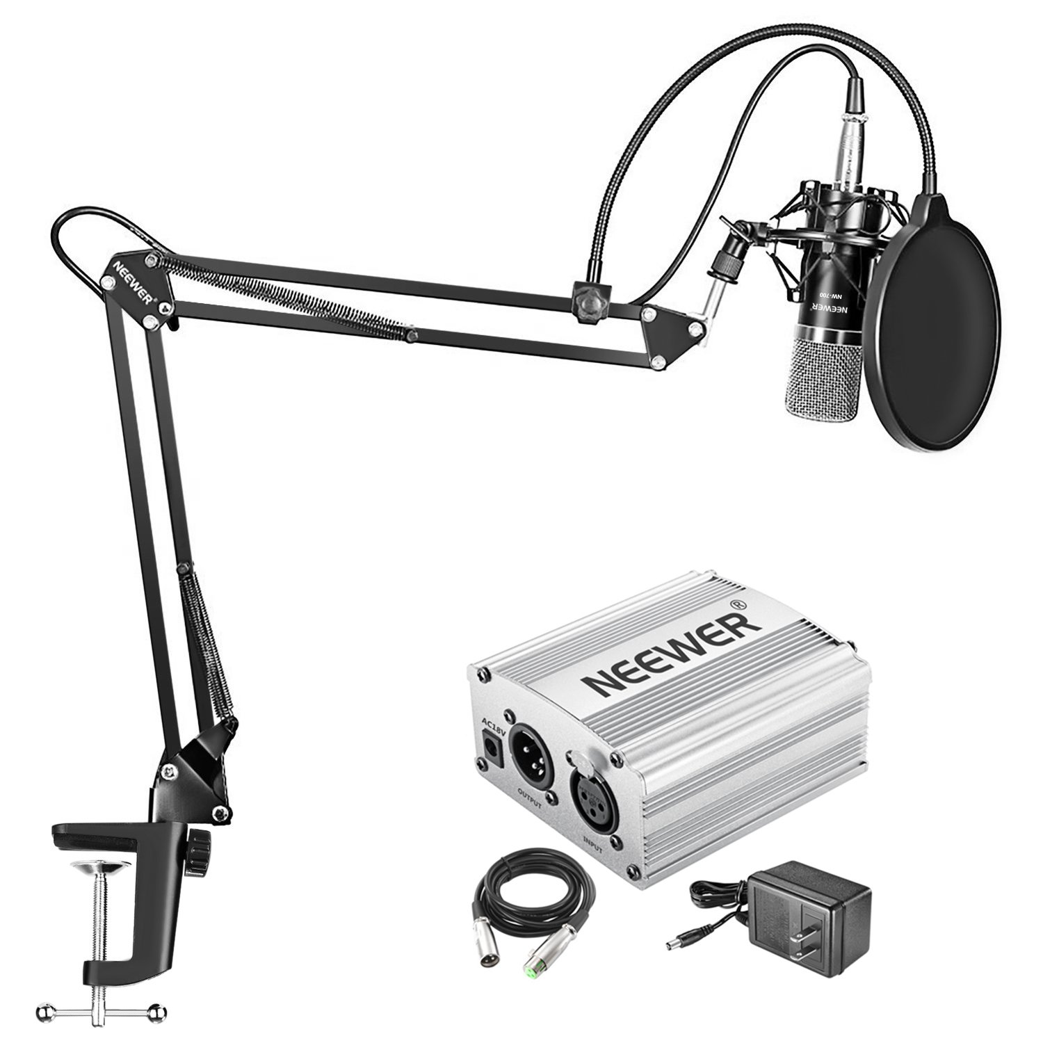 Neewer NW-700 Condenser Microphone Kit - Mic(Black) and 48V Phantom Power Supply(Silver),NW-35 Boom Scissor Arm Stand with Shock Mount and Pop Filter,XLR Male to Female Cable for Home Studio Recording by Neewer