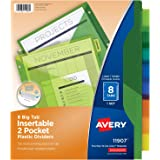 Avery 8-Tab Plastic Binder Dividers with Pockets, Insertable Multicolor Big Tabs, 1 Set (11907)