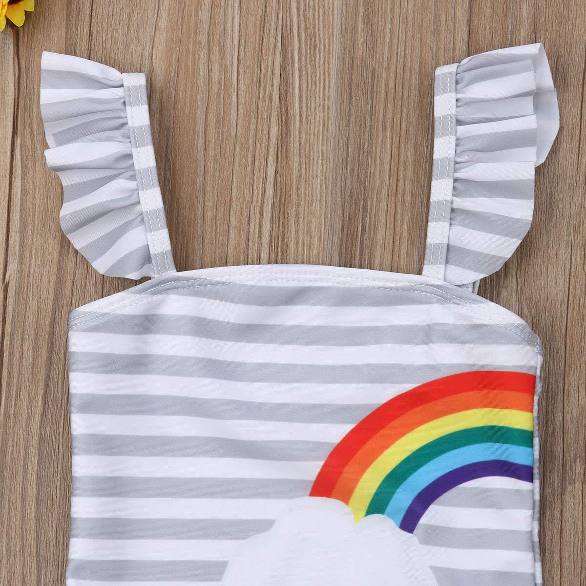Kids Toddler Baby Girl One-Piece Swimsuit Beach Wear Twins Rainbow Striped Swimwear Bathing Suits 6M-5T