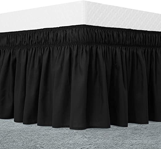 Amazon.com: Guken Black Bed Skirt Queen Size Ruffled Bedskirt 15