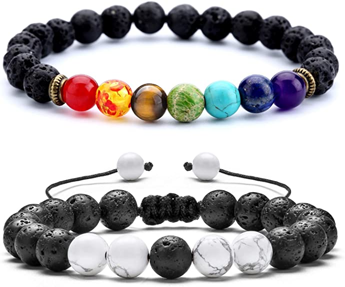 Hommes spiritualité Manchette Reiki moine Unisexe environ 19.05 cm 8 mm Givré Obsidian Bracelet 7.5 in
