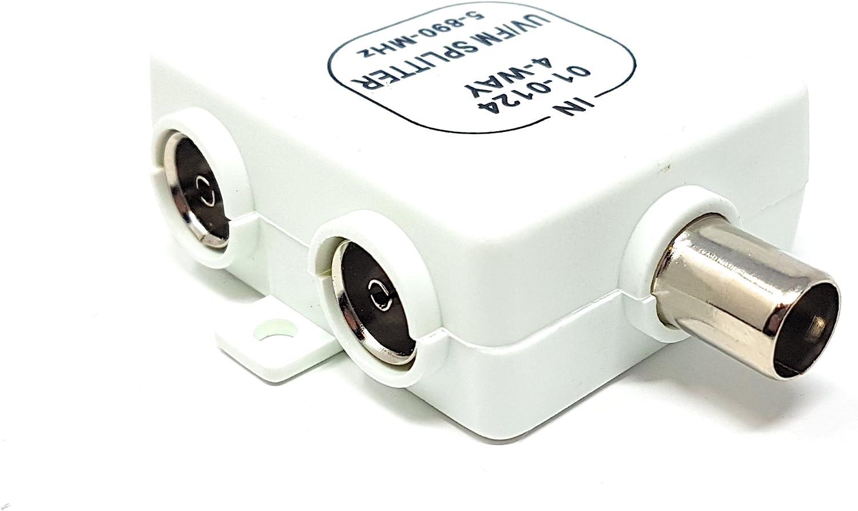 M (núcleo 1 Entrada a 4 Salida RF Divisor para Freeview TV UV FM VHF Antena Sky Cajas.