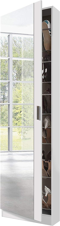 Habitdesign 007866BO - Armario zapatero con espejo, color Blanco Brillo, dimensiones 180cm (altura) x 50cm (ancho) x 20cm (fondo)