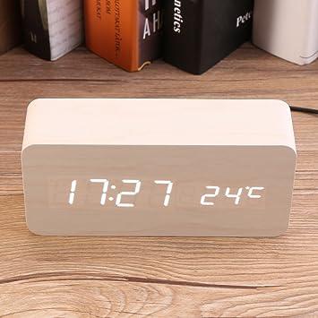 acdcb78b48 Mini LED Réveil numérique en Bois, Reveil Matin Électronique Numérique LED  Horloge de Bureau Affichage