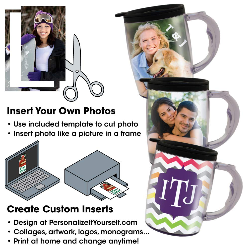 PixMug with Handle - 24 Pack - Photo Mug – The Mug That's A Picture Frame - DIY - Insert your own photos or designs – 15 oz with spill proof top by PixMug (Image #3)
