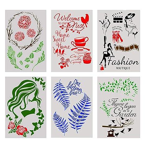 Amazon.com: 6 plantillas de dibujo de pintura hueca para ...