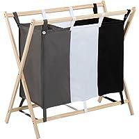 Jago Wäschesortierer aus Holz mit 3 Fächern (dreifarbig), ca. 120 l Volumen, Größe (L/B/H): 85/43/81cm | Wäschekorb, Wäschebox, Wäschesammler
