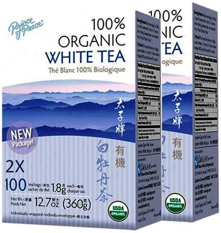 Prince of Peace Organic White Tea - 100 Tea Bags, 2 pack